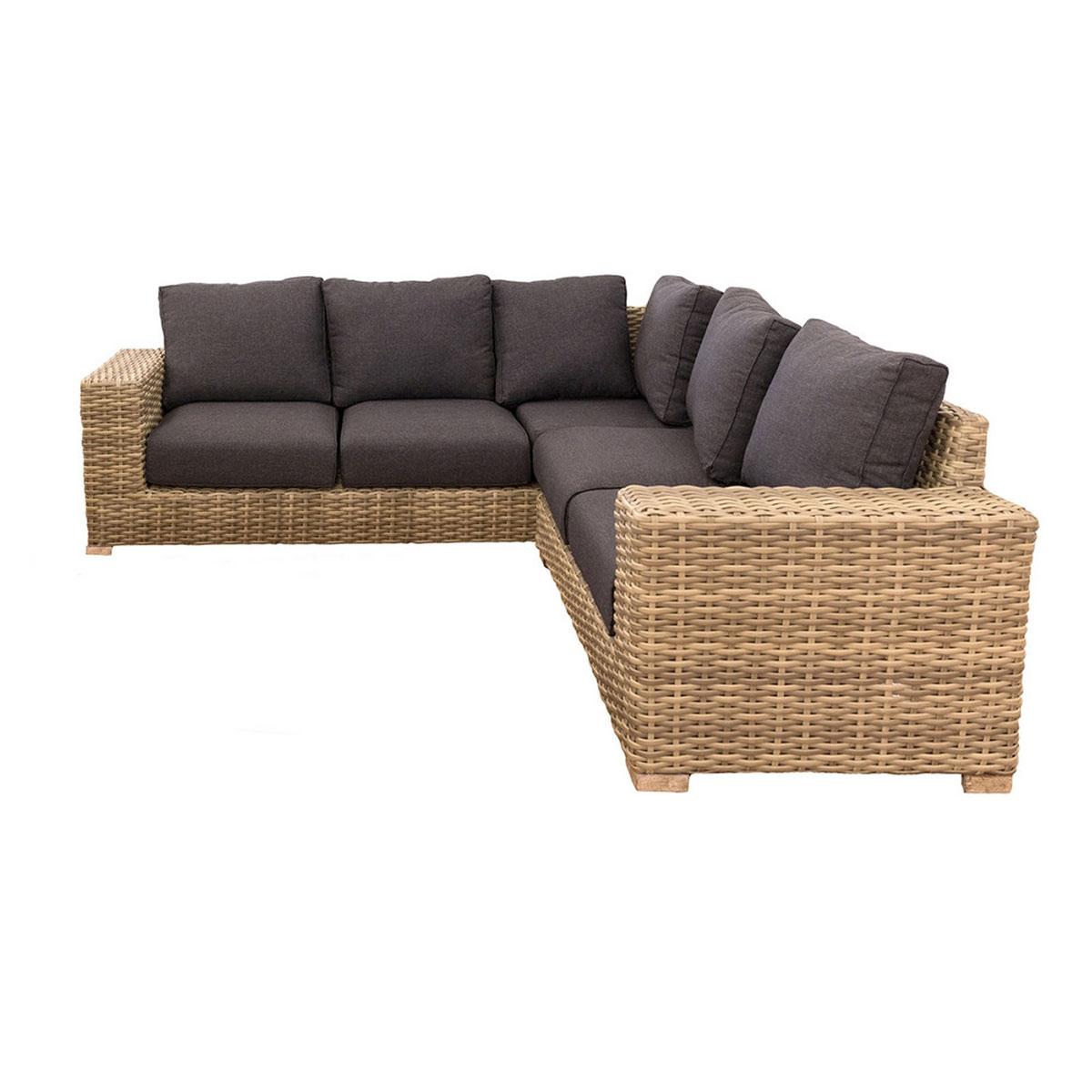 Canapé d'angle et d'extérieur en rotin - Marron - 246.00 cm x 246.00 cm x 74.00 cm