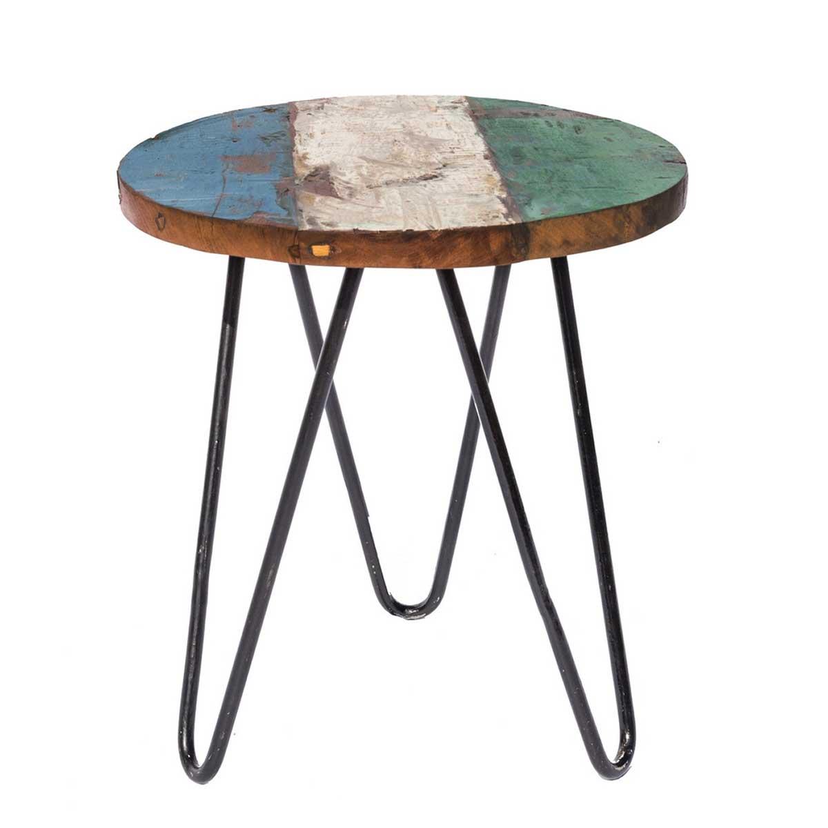 Table d'appoint ronde en teck coloré - Bleu blanc vert - 40.00 cm x 40.00 cm x 45.00 cm