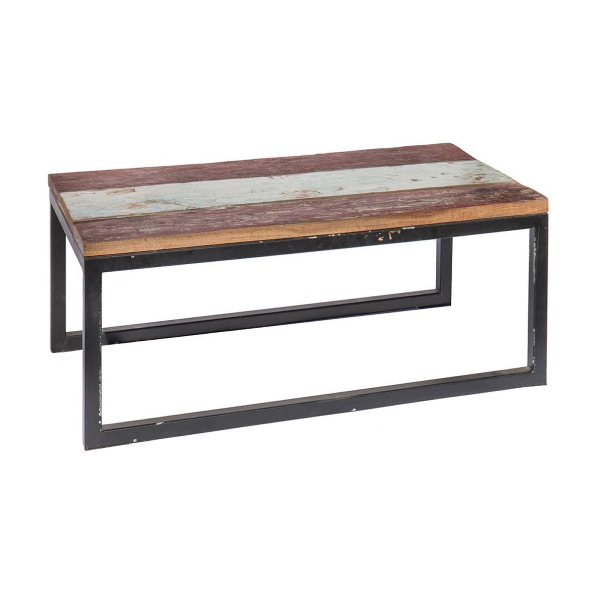 Table rectangulaire en teck coloré - Marron/blanc/noir - 90.00 cm x 50.00 cm x 38.00 cm