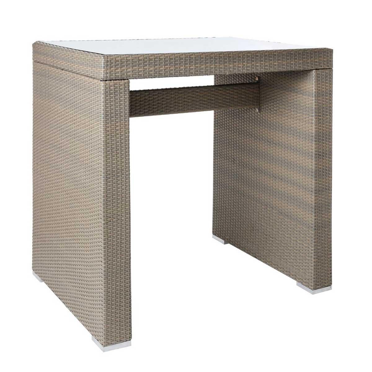 Table haute d'extérieur en rotin et verre - Taupe - 110.00 cm x 80.00 cm x 110.00 cm