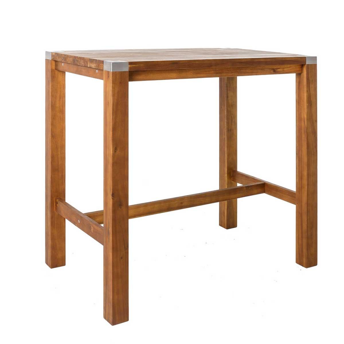 Table haute en bois et acier inoxydable - Naturel - 120.00 cm x 75.00 cm x 110.00 cm