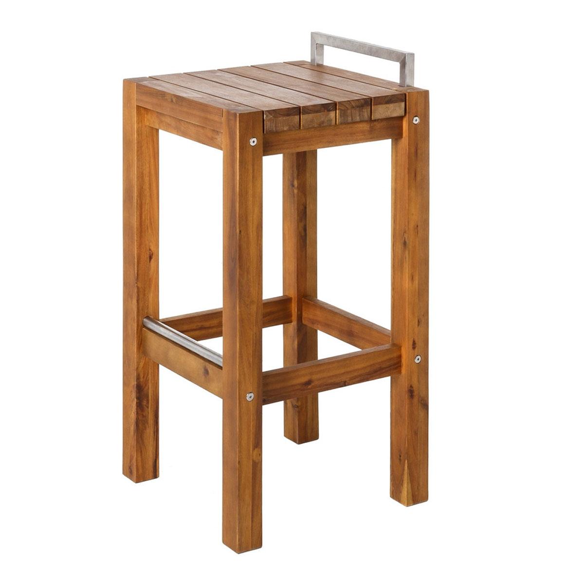 Tabouret haut en bois et acier - Naturel - 40 x 40 x 80 cm