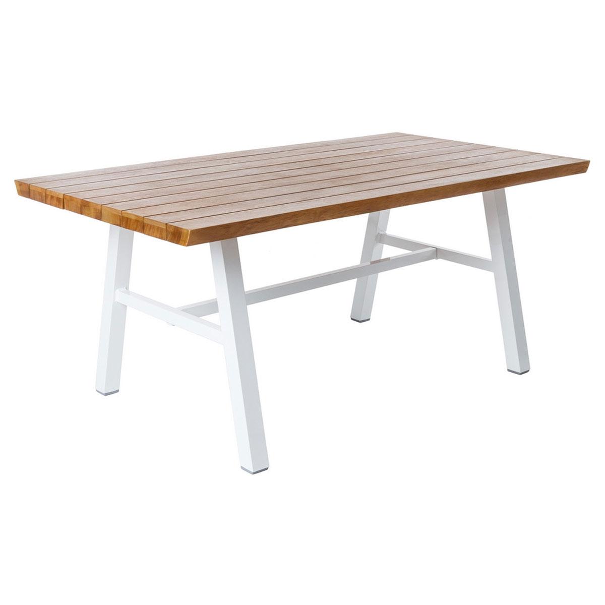 Table en aluminium blanc et bois - Naturel/Blanc - 180.00 cm x 100.00 cm x 75.00 cm