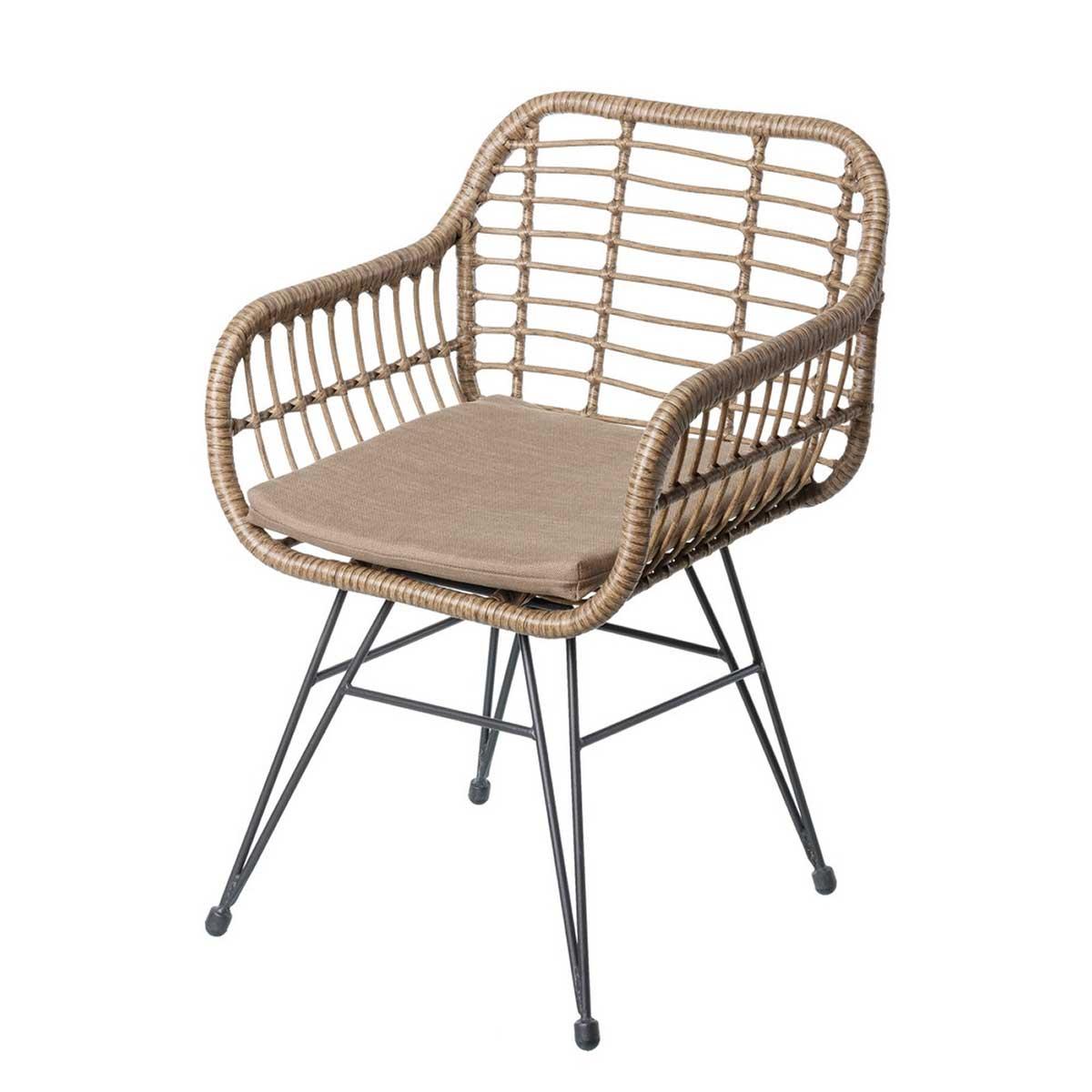 Lot de 2 chaises en acier et rotin - Naturel - 55.00 cm x 62.00 cm x 80.00 cm