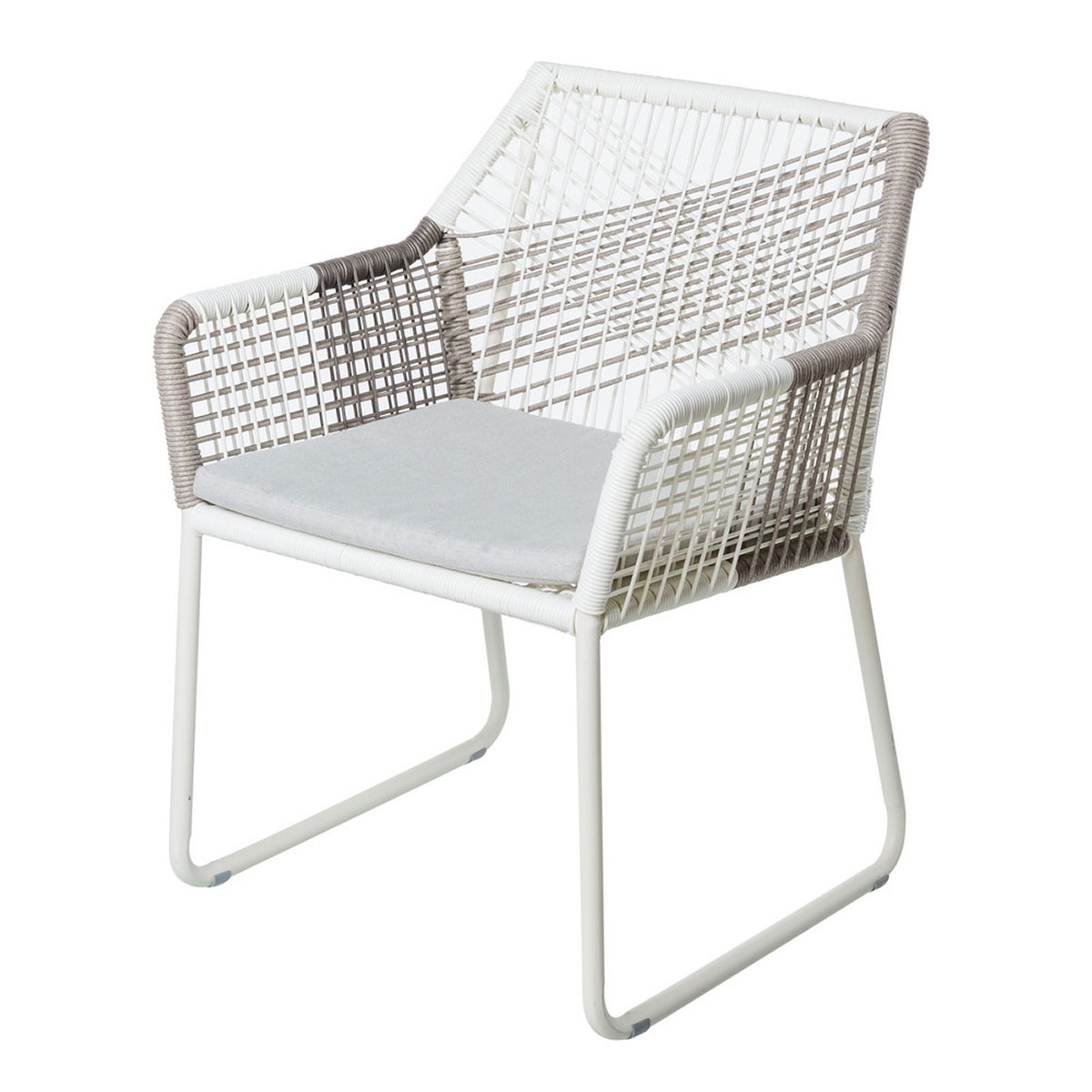 Chaise à accoudoirs à cordes bicolores - BLANC/GRIS - 60.00 cm x 61.00 cm x 78.50 cm