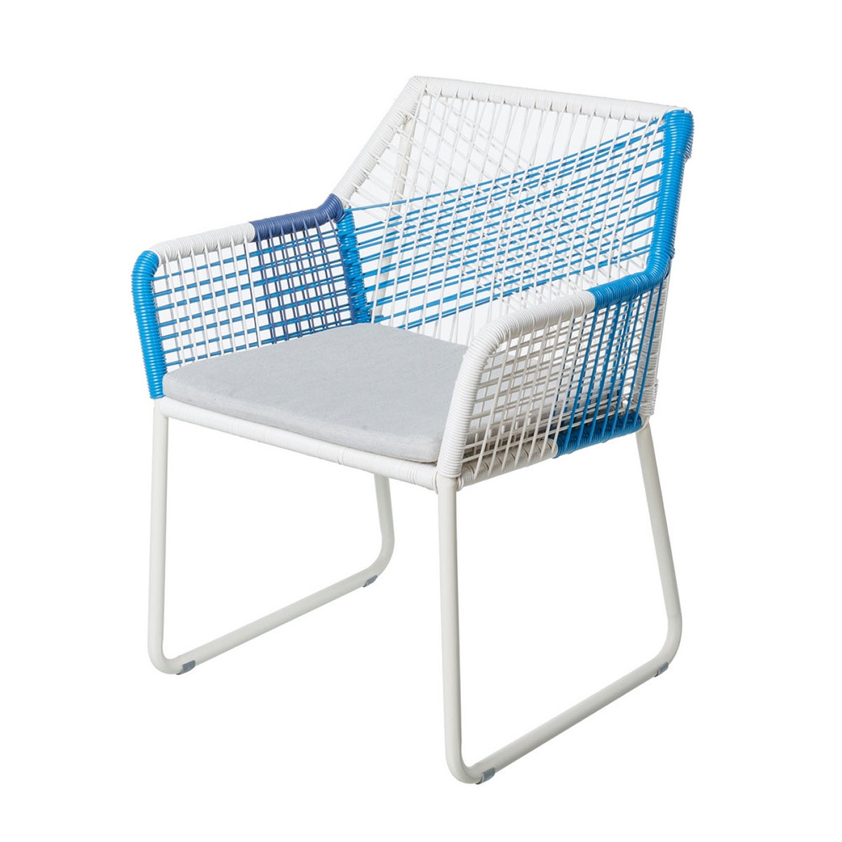 Chaise à accoudoirs à cordes bicolores - BLANC/BLEU - 60.00 cm x 61.00 cm x 78.50 cm