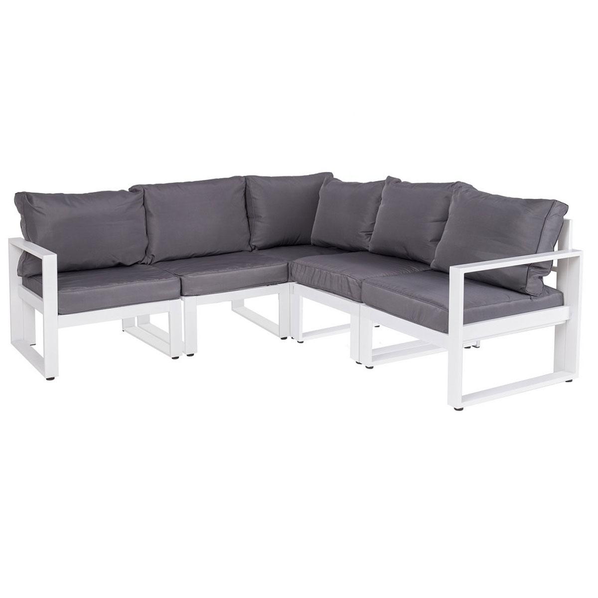 Canapé d'angle en aluminium blanc et gris - Gris/Blanc - 197.50 cm x 72.00 cm x 197.50 cm