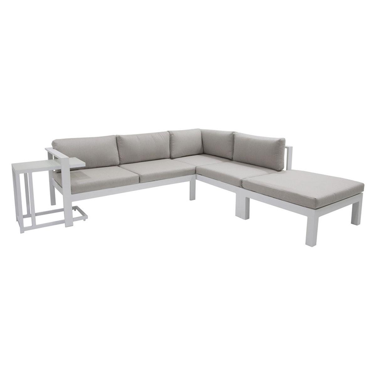 Canapé d'angle avec table latérale - Gris - 147.00 cm x 224.00 cm x 65.50 cm