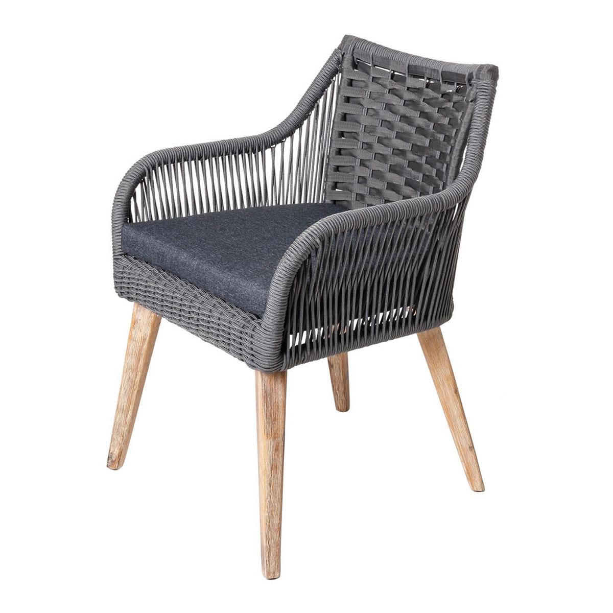 Lot de 4 chaises naturelles en corde et bois - Gris - 60.00 cm x 62.00 cm x 83.00 cm