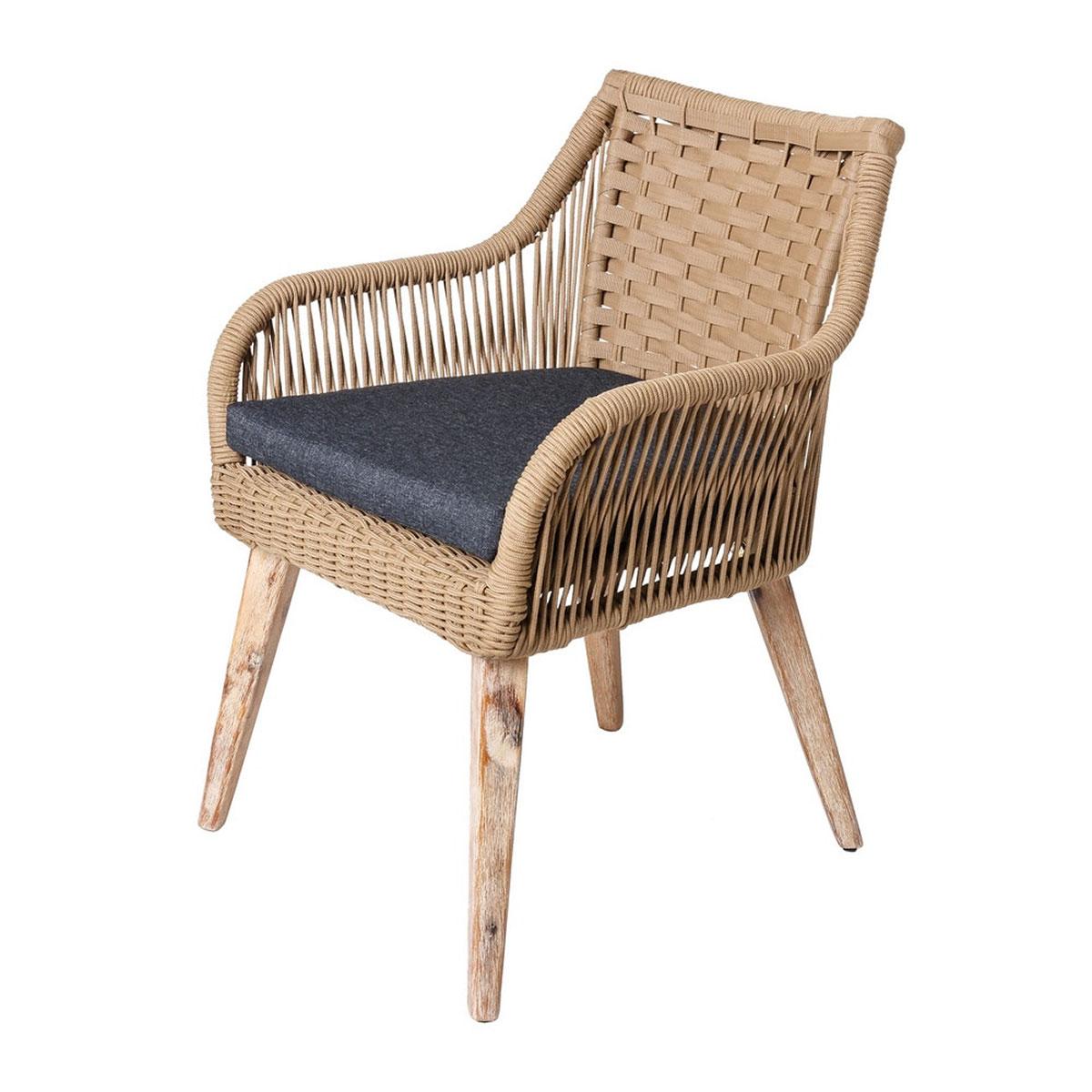 Lot de 4 chaises naturelles en corde et bois - Beige - 60.00 cm x 62.00 cm x 83.00 cm