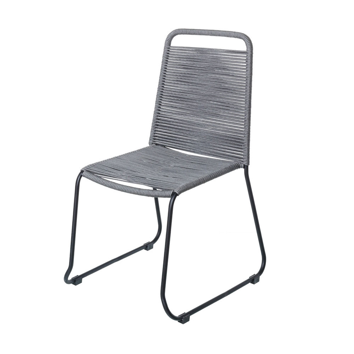 Chaise empilable en corde et acier - Gris - 53.00 cm x 53.00 cm x 88.00