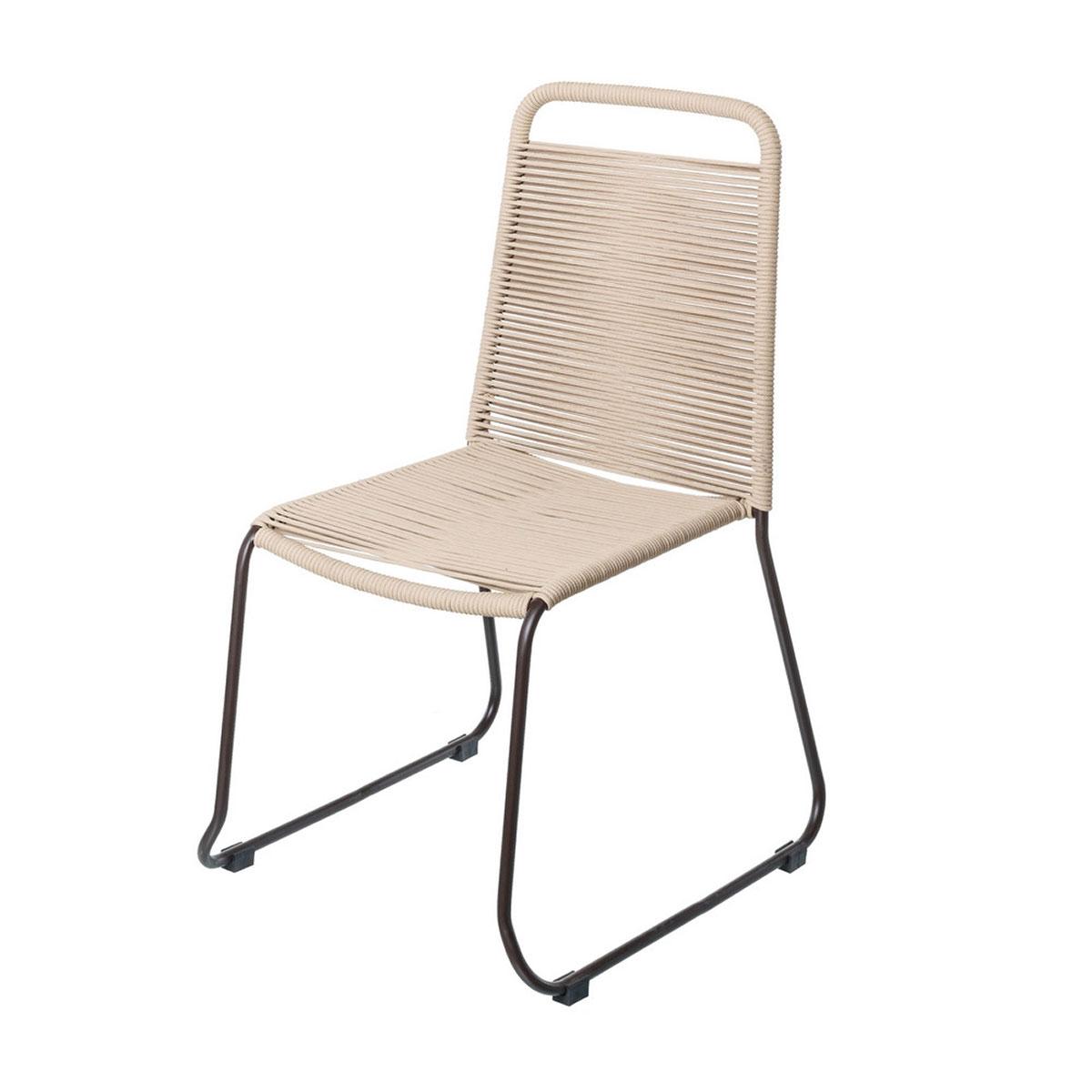 Chaise empilable en corde et acier - Beige - 53.00 cm x 53.00 cm x 88.00