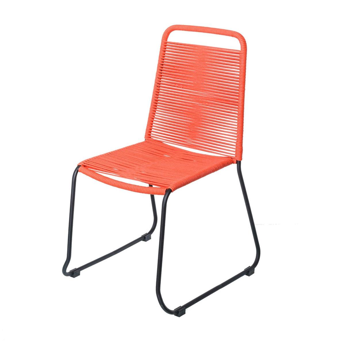 Chaise empilable en corde et acier - Rouge - 53.00 cm x 53.00 cm x 88.00