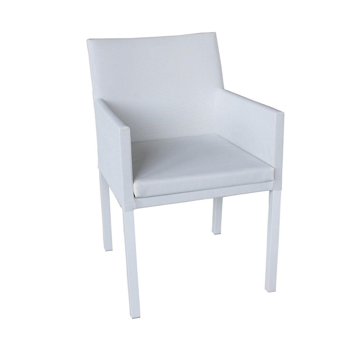 Chaise à manger en textilène - Blanc - 54.00 cm x 62.00 cm x 84.00 cm