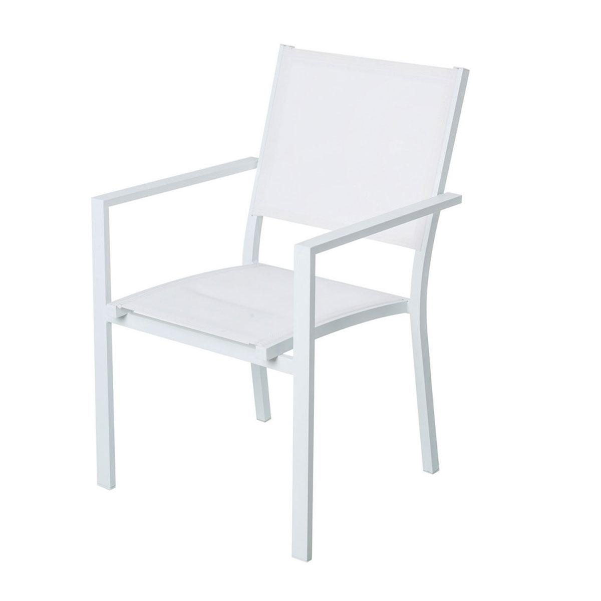 Lot de 4 chaises empilables en aluminium - Blanc - 55.00 cm x 58.00 cm x 85.00 cm
