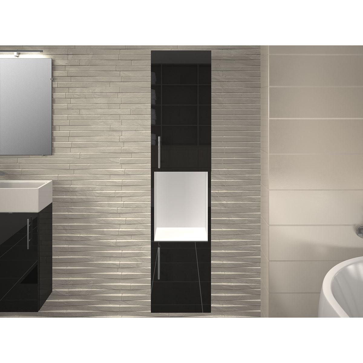 Colonne salle de bain avec 2 portes et une niche (Gris)