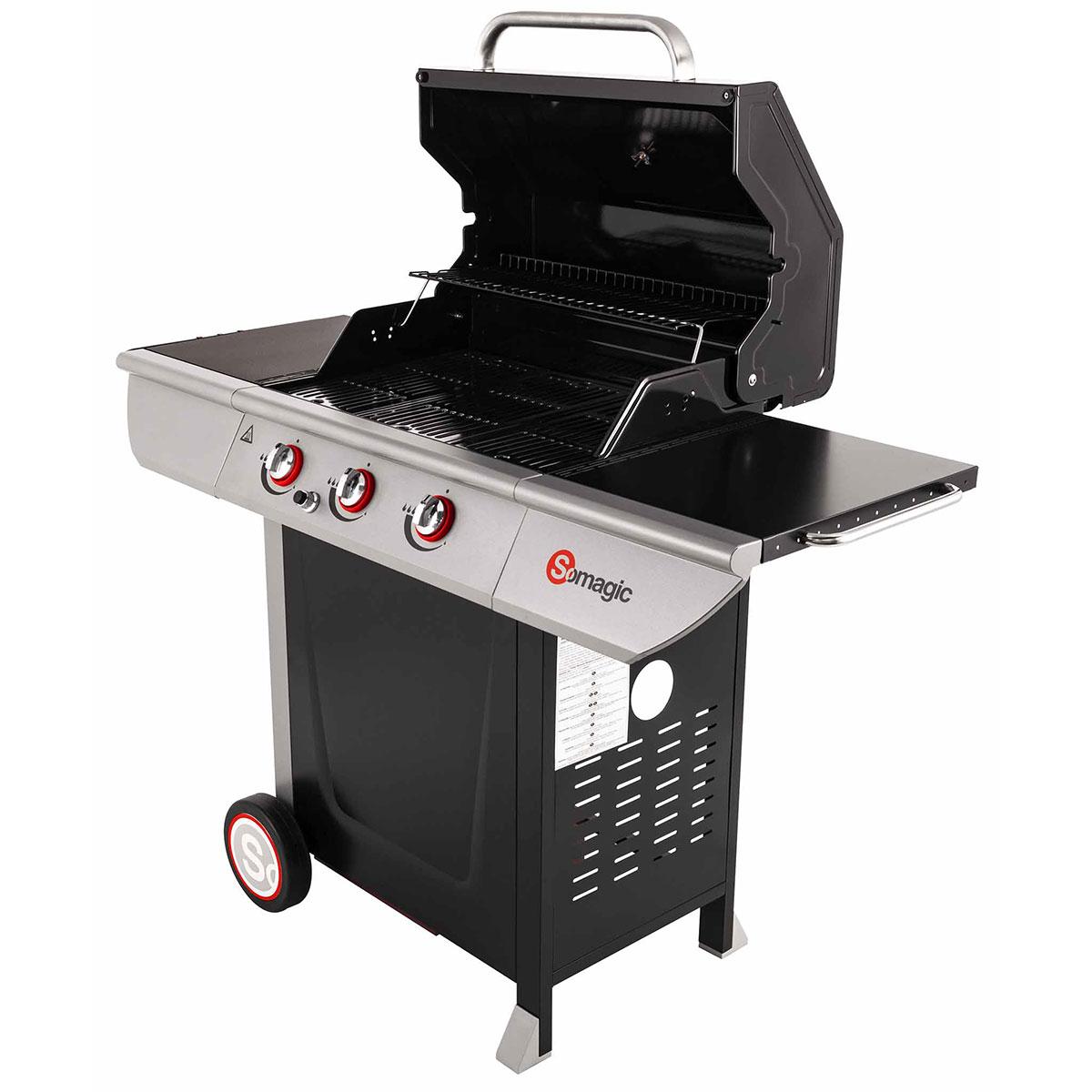 barbecue gaz avec couvercle de cuisson inox. Black Bedroom Furniture Sets. Home Design Ideas