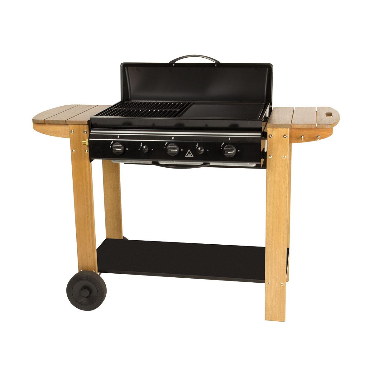 Barbecue à gaz 50% grille et 50% plancha - Bois - 126 x 54 x 89 cm
