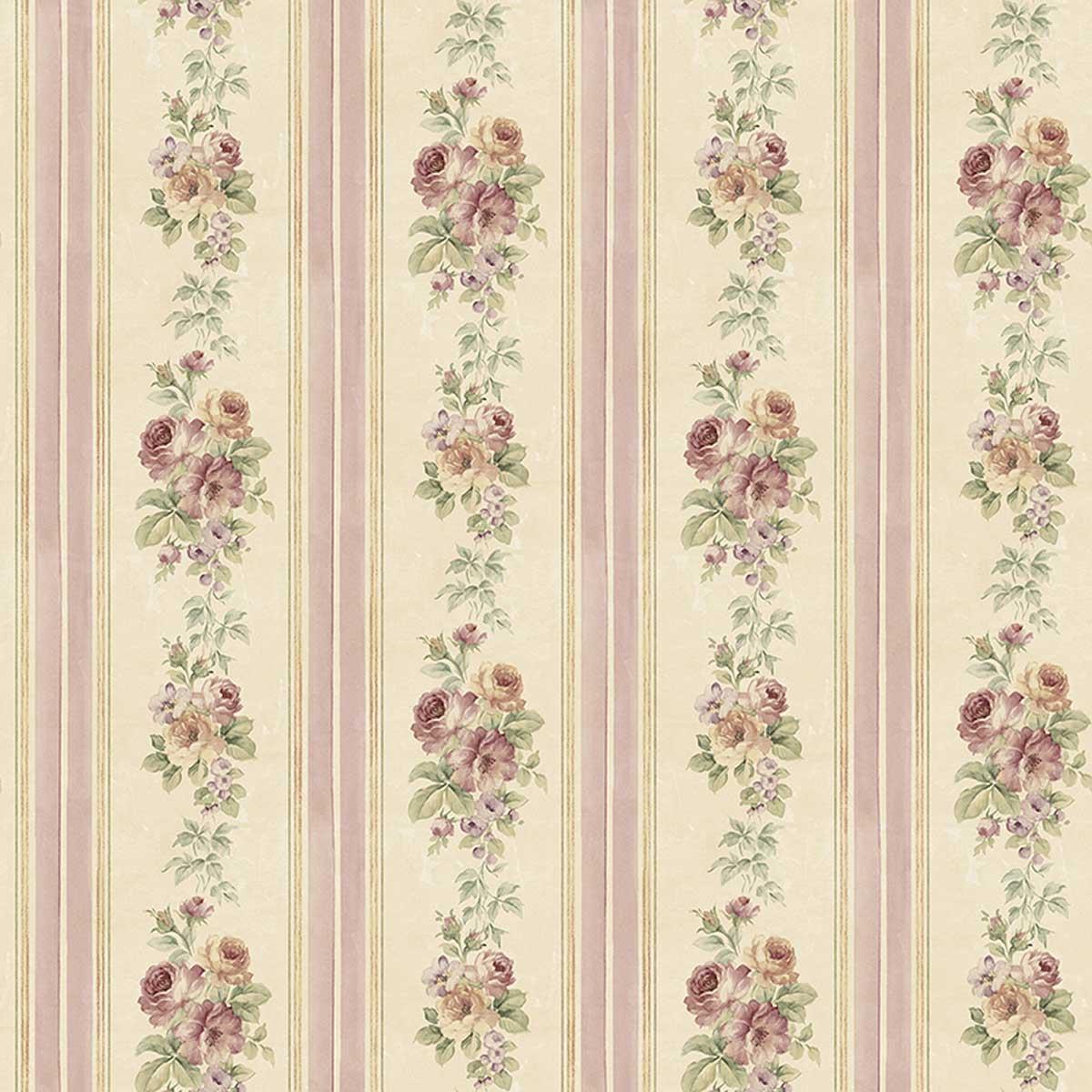 Papier peint LUTECE rayures et fleurs - Rose - 10 m x 0,53 m