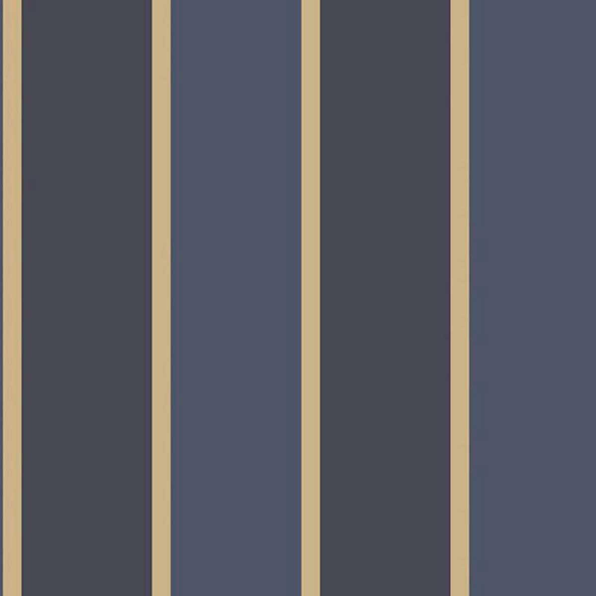 Papier peint LUTECE imprimé rayures bleues et or - Bleu - 10 m x 0,53 m