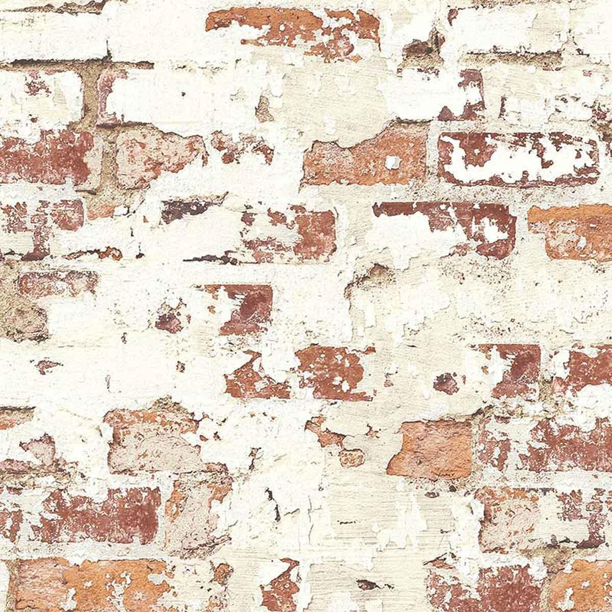 Papier peint LUTECE vieux mur de briques rouges (Rouge)