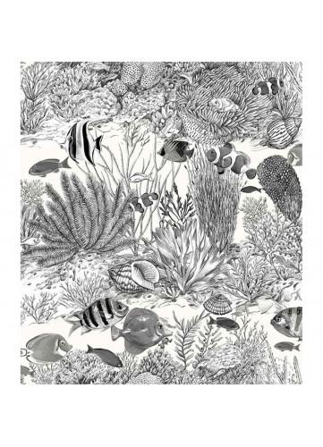 Tissu en coton imprimé croquis de la vie sous-marine