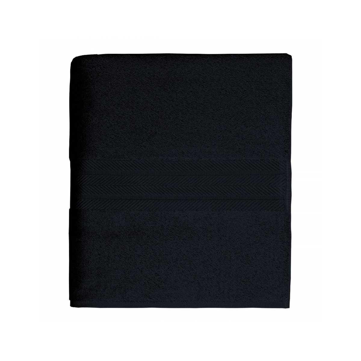 Linge de bain en coton moelleux 550gr/m² - Noir - 70 x 140 cm
