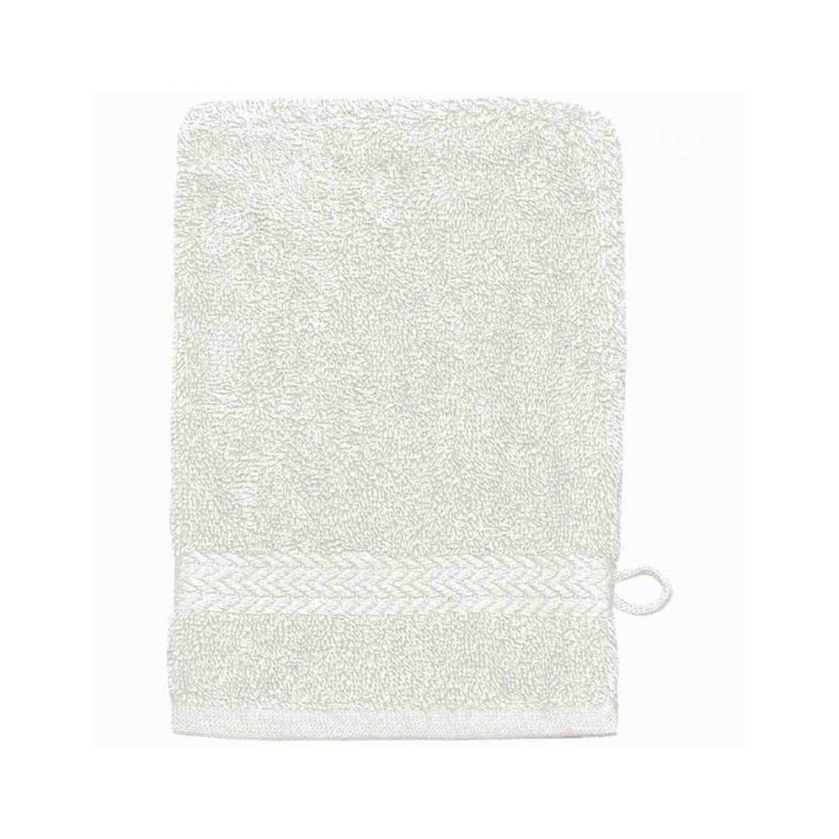 Lot de 3 Gants de toilette 16 x 22 cm en Coton couleur Blanc (Blanc)