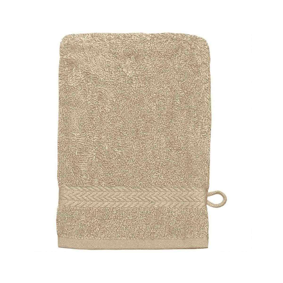 Lot de 3 Gants de toilette 16 x 22 cm en Coton couleur Ficelle (Ficelle)