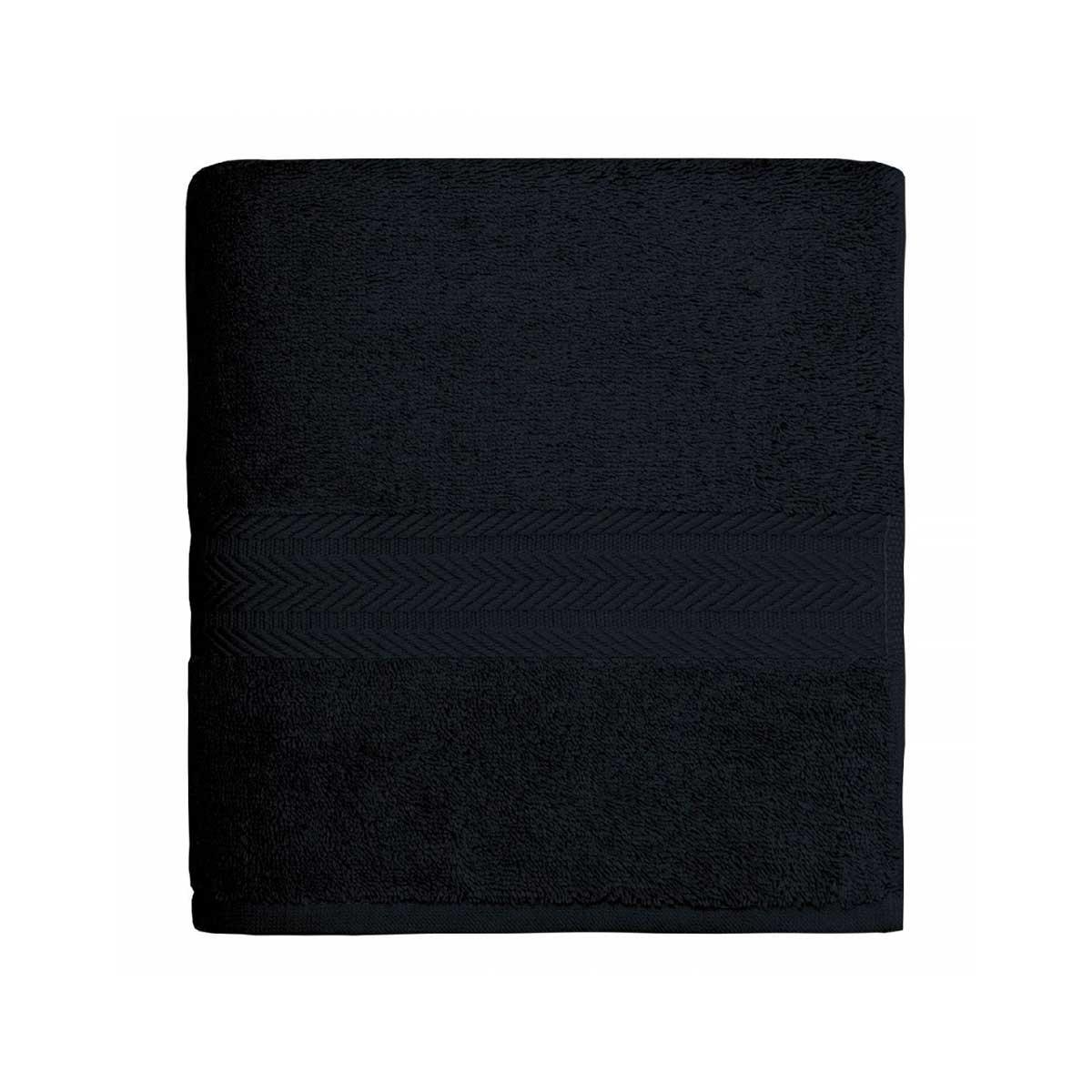 Serviette de toilette en coton 550gr/m² noir - Noir - 50 x 100 cm