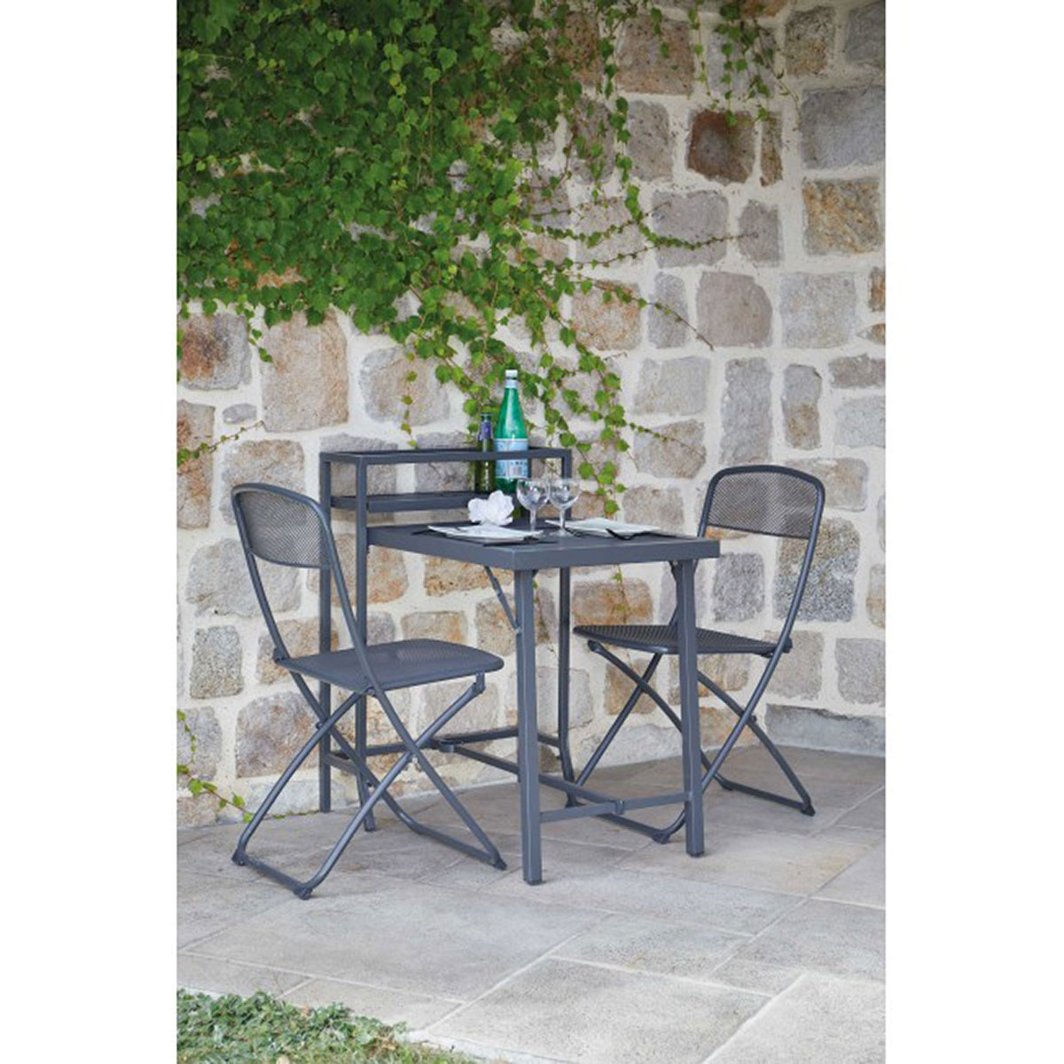 salon de jardin pliable sp cial petit espace anthracite homemaison vente en ligne salons. Black Bedroom Furniture Sets. Home Design Ideas