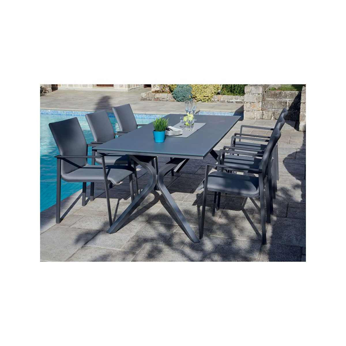 Salon de jardin anthracite avec pied design  (Anthracite)