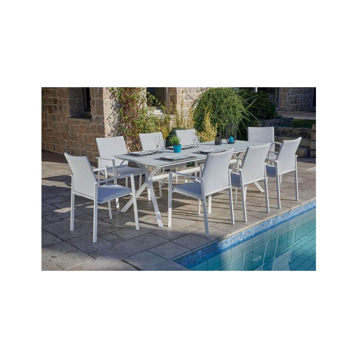 Salon de jardin blanc avec pied design - Blanc - 220 x 90 x 75 cm
