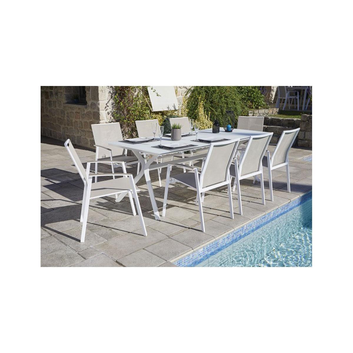 Salon de jardin blanc avec pied design  (Noisette)