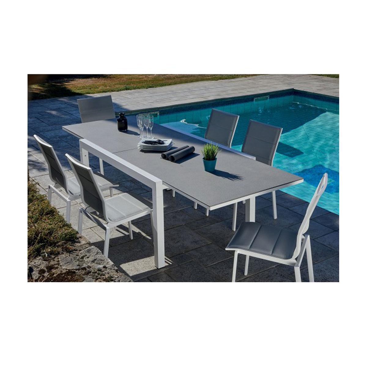 Salon de jardin avec table extensible - Gris et Blanc - 146/266 x 100 x 75 cm