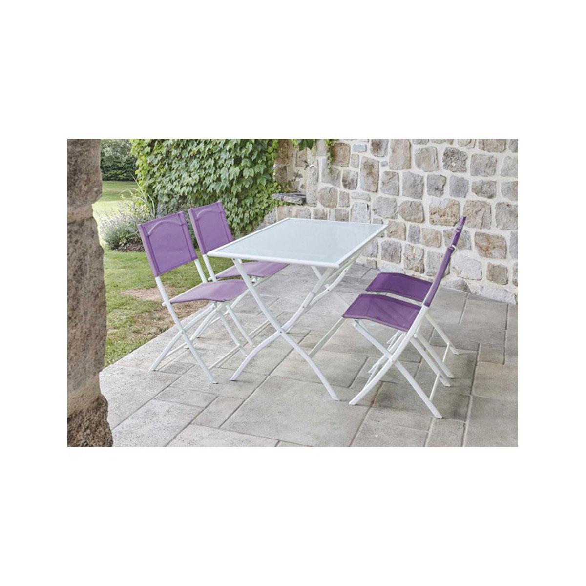 Ensemble de jardin pliant à chaises colorées - Aubergine - 110 x70 x 72 cm