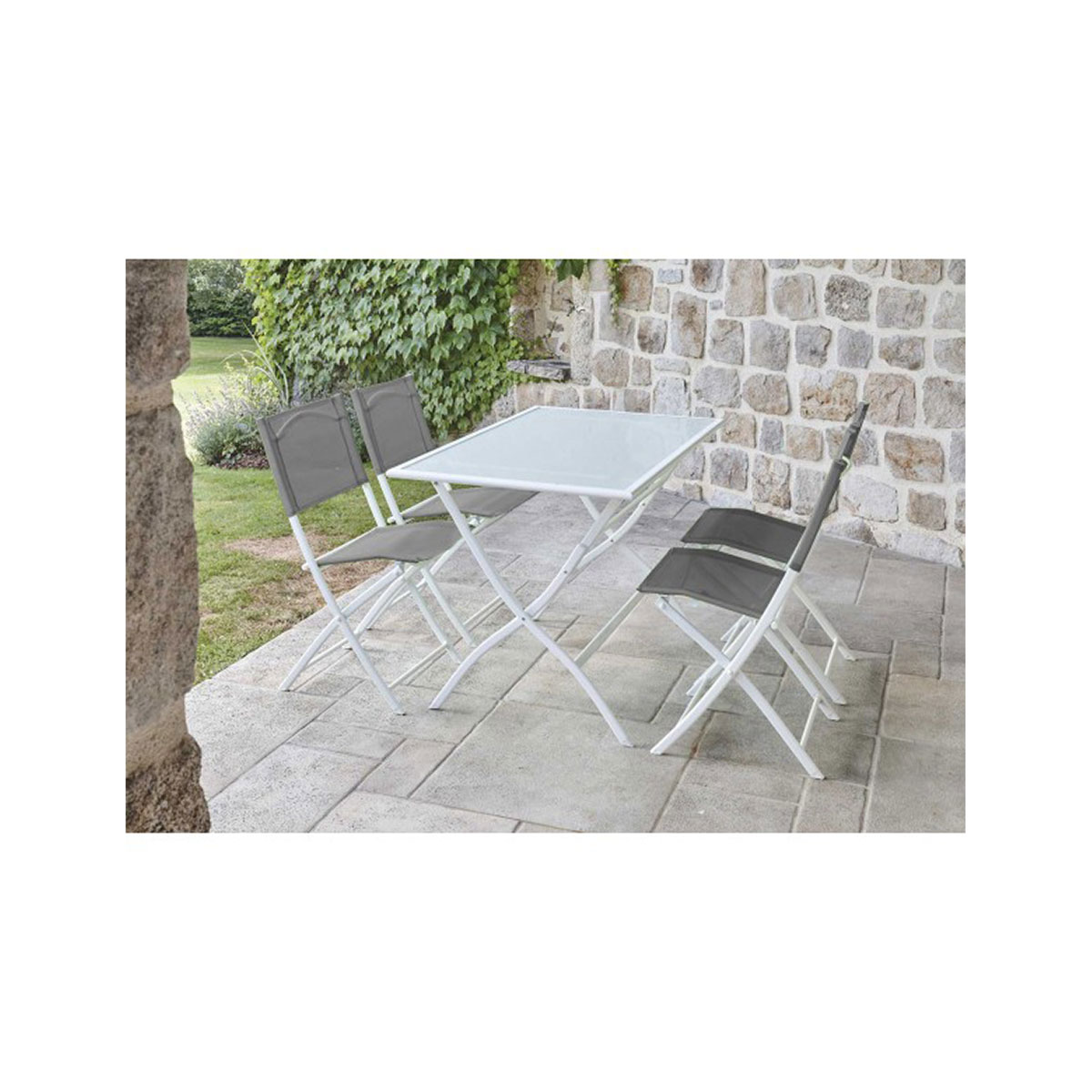 Ensemble de jardin pliant à chaises colorées - Anthracite - 110 x70 x 72 cm