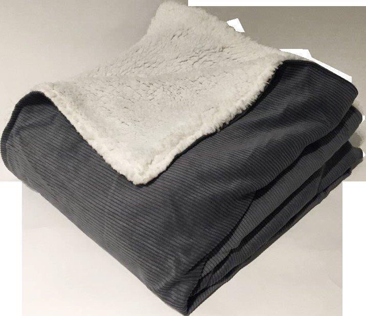 Plaid et Coussin en Velours Milleraies Doublés de Micro Fourrure - Acier - 130 x 150 cm. Ce coussin et ce plaid sont doublés de micro fo