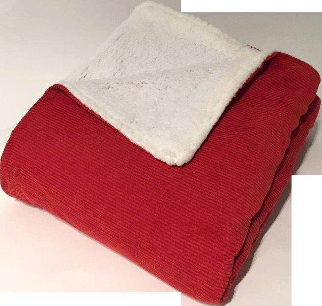 Plaid en Velours Milleraies Doublés de Micro Fourrure (Rouge)