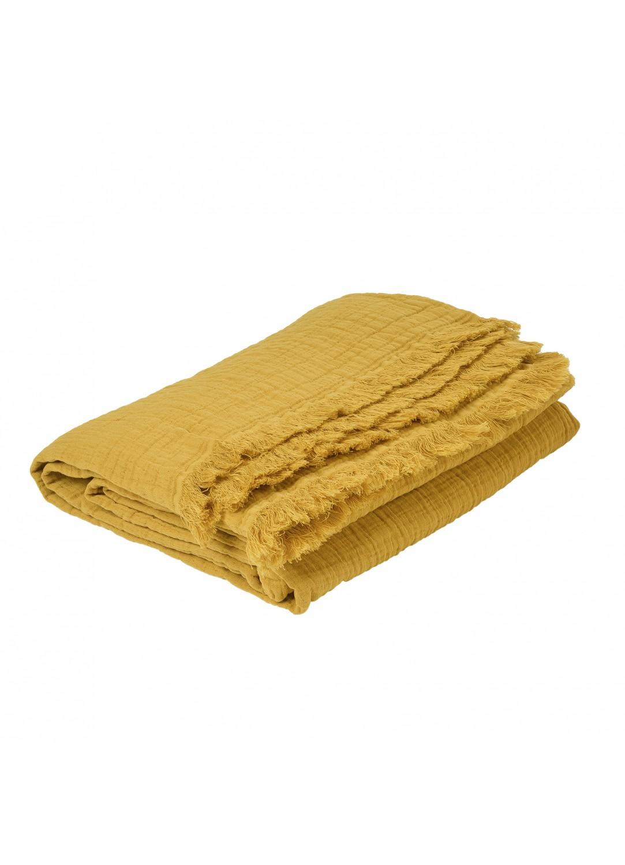 Plaid en gaze de coton (Miel)