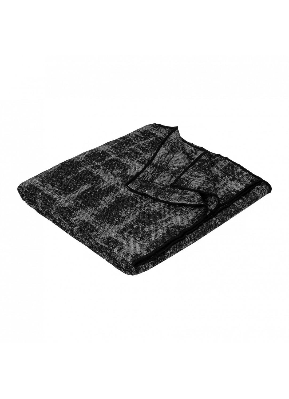 Plaid en laine et lin  (Noir)