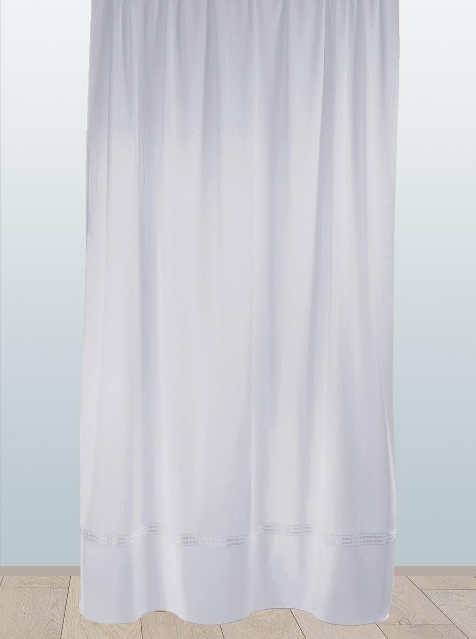 Voilage en Polyester à Parement Bas Tissé et Galon Fronceur (Blanc)