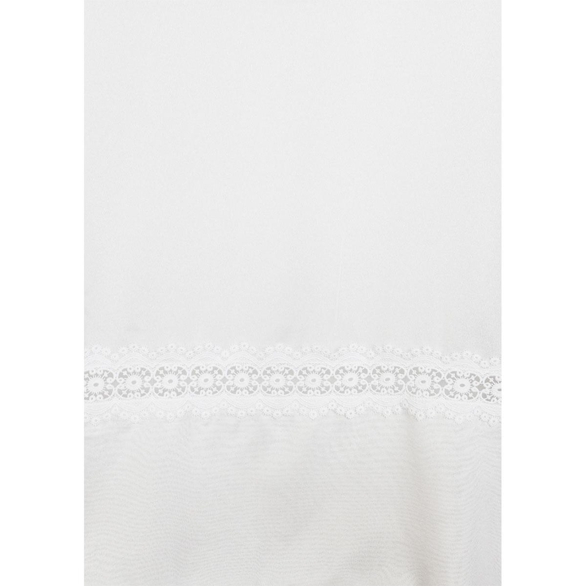 Voilage sablé en macramé à galon fronceur (Blanc)