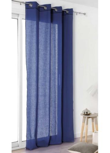 Voilage à Liseret en 100% Lin - Bleu - 135 x 260 cm