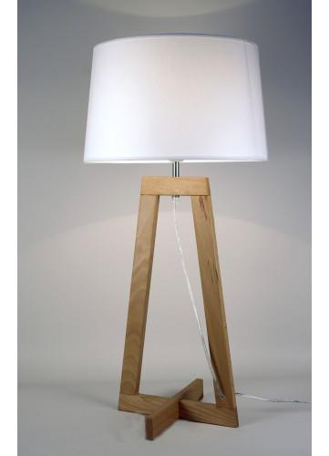 Lampe à Poser en Bois Naturel - Bois - L 24 x P 24 H 68 cm