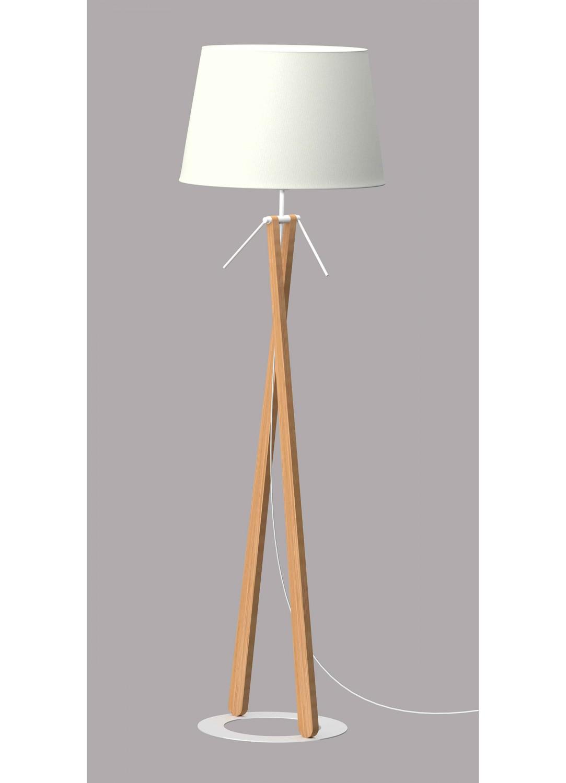 Lampadaire sur Socle Circulaire (Bois)