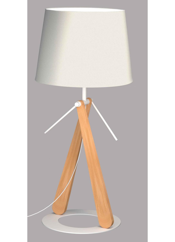 lampe poser sur socle circulaire bois homemaison vente en ligne luminaires. Black Bedroom Furniture Sets. Home Design Ideas