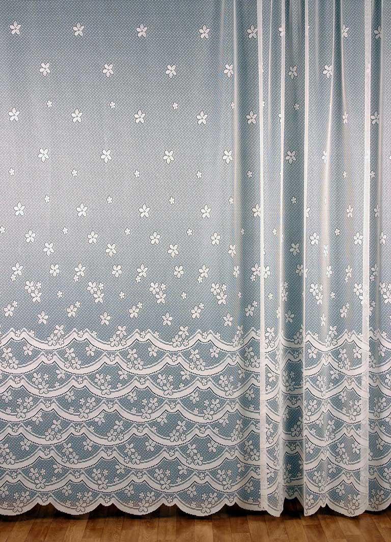 Voilage en Dentelle Festonnée à Galon Fronçeur - Blanc - 175 x 180 cm