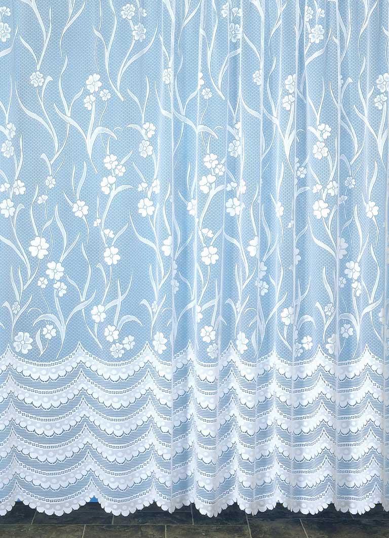 Voilage Fleurià Galon Fronceur - Blanc - 175 x 180 cm