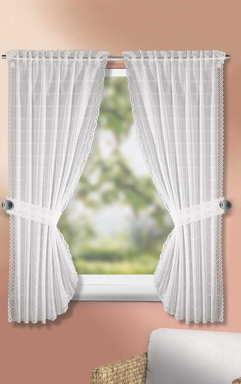 rideau bonne femme effet carr blanc vert homemaison vente en ligne petits voilages. Black Bedroom Furniture Sets. Home Design Ideas